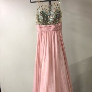 Jovani light pink beaded prom dress